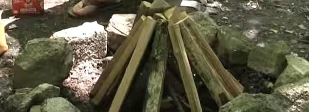 teepee style campfire