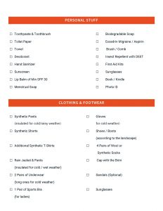 Backpacking Checklist Page 2