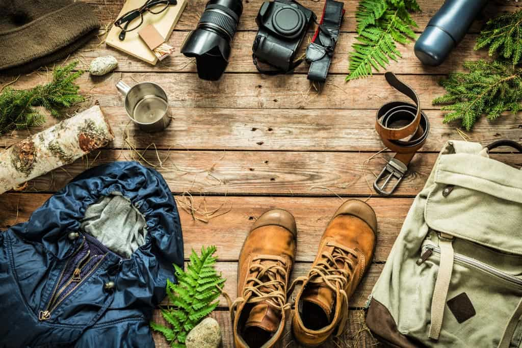 Assorted gear for camping
